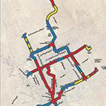 خريطة توضح توزيع مستويات شبكة قطار الرياض ما بين أنفاق وجسور ومسارات على سطح الأرض